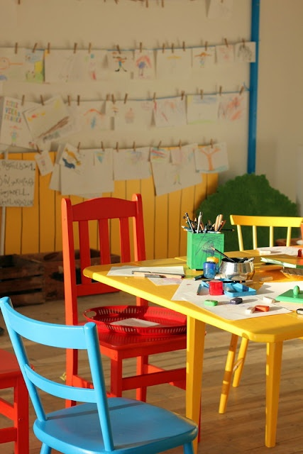 Cute way to hang kids' art... great for a playroom!