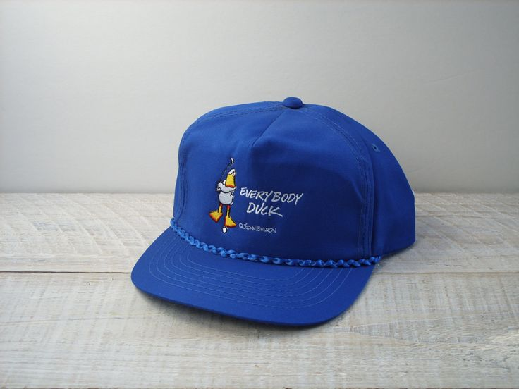 Vintage John Baron Golf Snapback ~ Blue Golfing Duck Trucker Baseball Cap ~ Everybody Duck! by RetrOAmyO on Etsy
