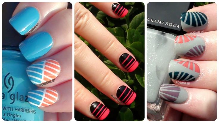 3 More Easy Striping Tape Nail Art Designs | Nail Art For Beginners | Ar...