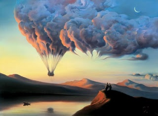 up in the clouds, balloon trip surreal art via anna ferenczy