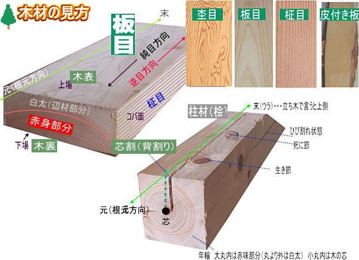 木材の見方、各部の名称、呼び名