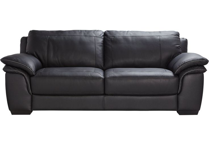 Cindy Crawford Home Grand Palazzo Black Leather Sofa from  Furniture
