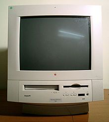 My first PowerPC Mac, a 1995 Performa 5320 which incorporated a TV tuner, modem, MPEG card, CD-ROM, remote control all in one box! Still have the logic board for it.