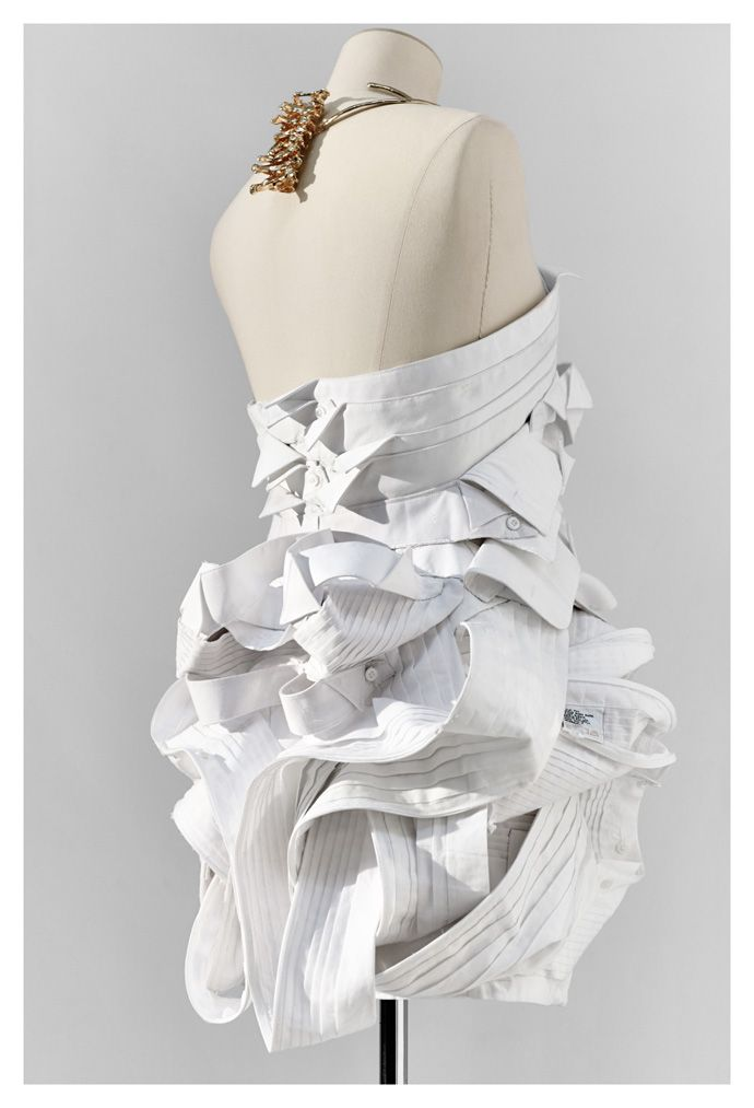 Sustainable Fashion Design - wearable art from recycled & repurposed materials; dress refashioned from deconstructed men's shirt collars // Jun Takahashi