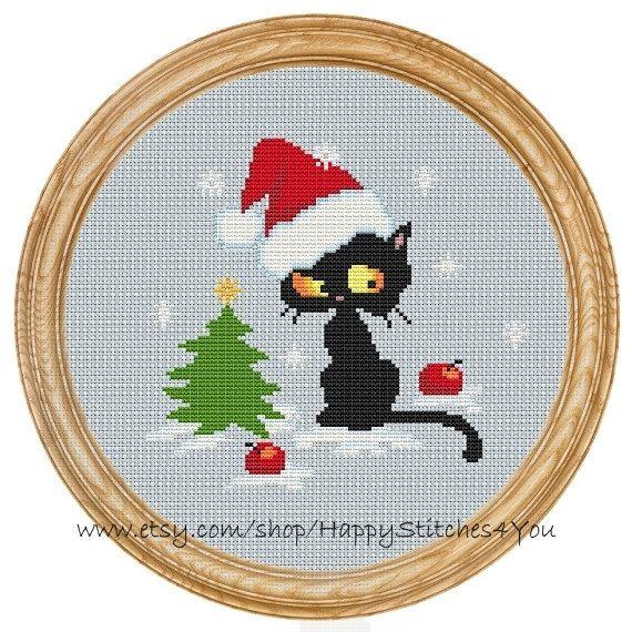 Cross Stitch Pattern PDF christmas cat DD0129 by HappyStitches4You