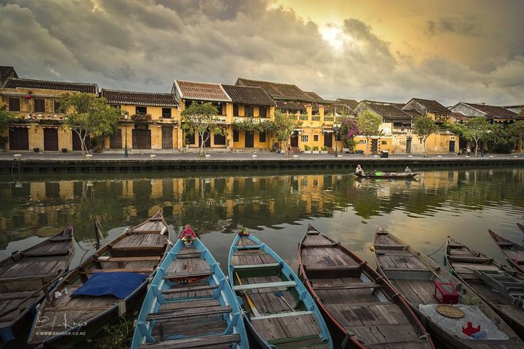 Sunrise over ancient city of Hoi An in Central Vietnam