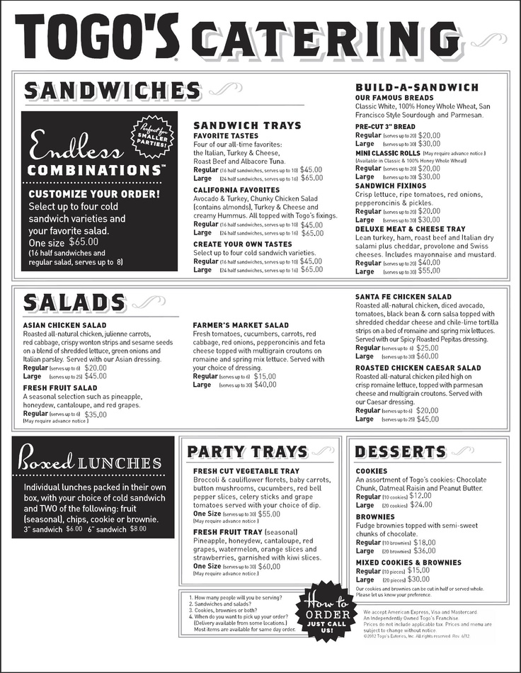 Bottos catering menu - Best buy apple ipad 2