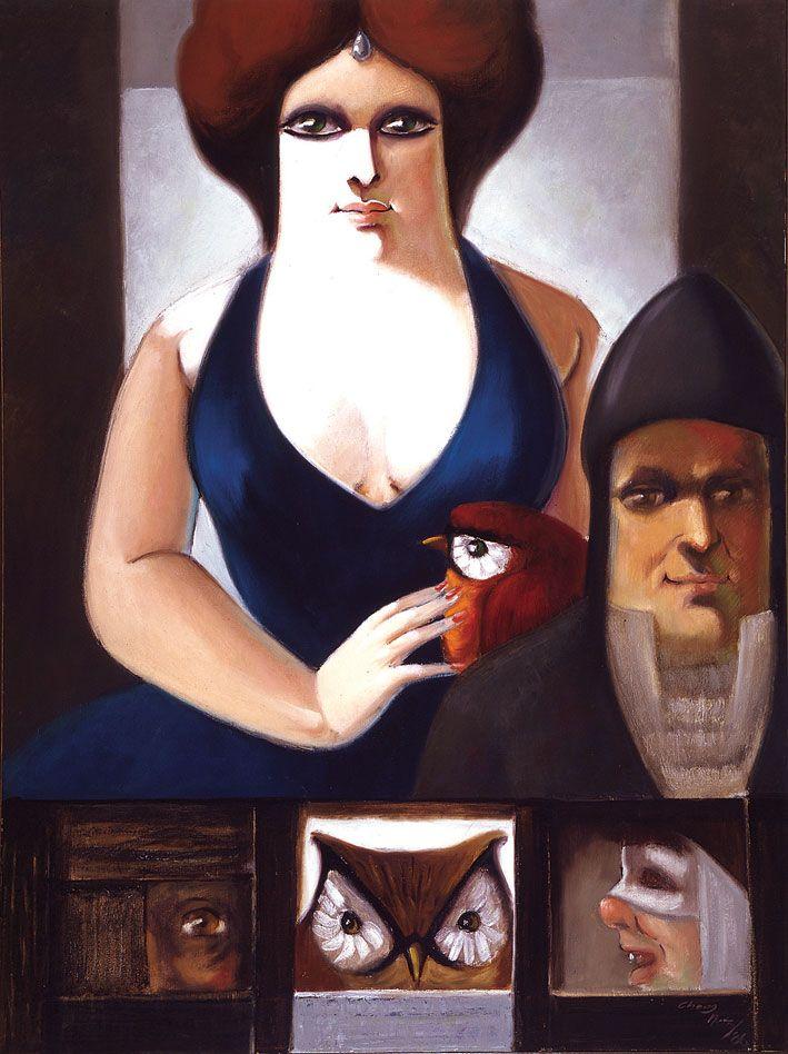 Dama azul, personajes y fisgones // Manuel Chong Neto // Panamá // Oleo sobre lienzo // 1986 // Colección Museo Bolivariano de Arte Contemporáneo