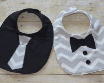 Gray Background and White Dots Two Piece Bib Set от sallyscrafts1