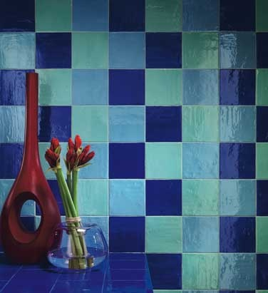 Multicolour #mosaics in varying shades of #aqua and blue. #UnionTiles