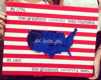 """Pi Beta Phi craft """"In 1776 the greatest country was founded. In 1867, the greatest SORORITY was!"""" #piphi #pibetaphi (WA Alpha)"""