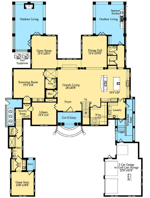 Plan 42813mj magnificent estate home plan house pantry for Mansion house plans with elevators