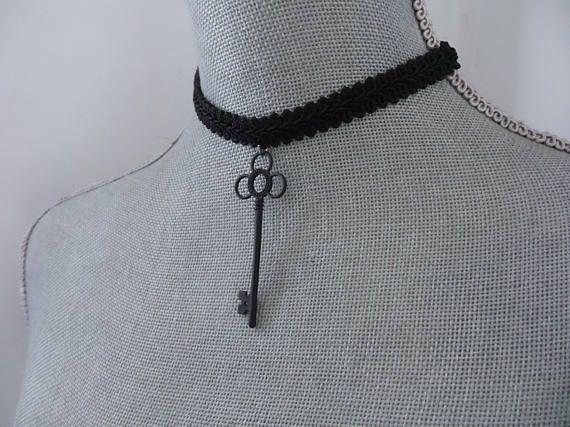 Black Choker Necklace Black Key Necklace Black Choker