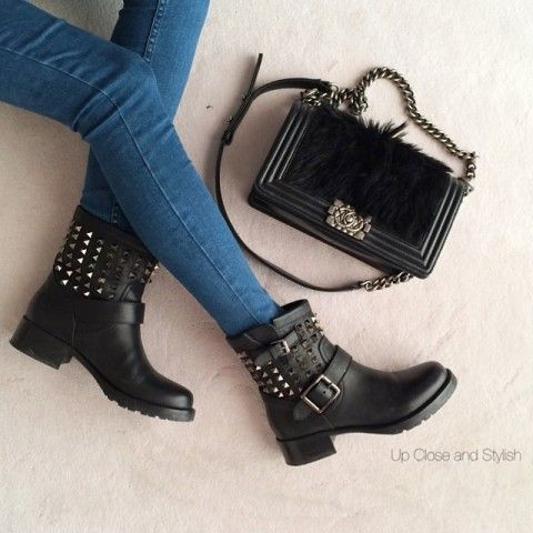 Rockstud Noir Biker Boot   Spotted on @upcloseandstylish, How would you style these for fall? http://keep.com/rockstud-noir-biker-boot-spotted-on-upcloseandstylish-by-asseenoninstagram/k/3HIiR8gBBC/