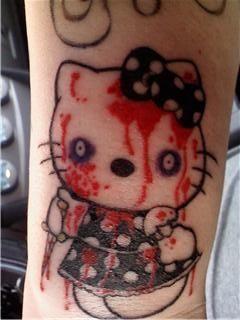 tatouages hello kitty sanglant   15 tatouages Hello Kitty insolites   vendredi 13 The Walking Dead tatouage tatoo squelette spoke photo imag...
