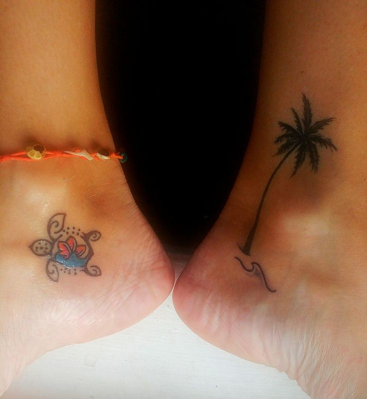 Palm tree tattoo, Hawaiian sea turtle tattoo, Ocean tattoo, beach tattoo, wave tattoo, ankle tattoo.