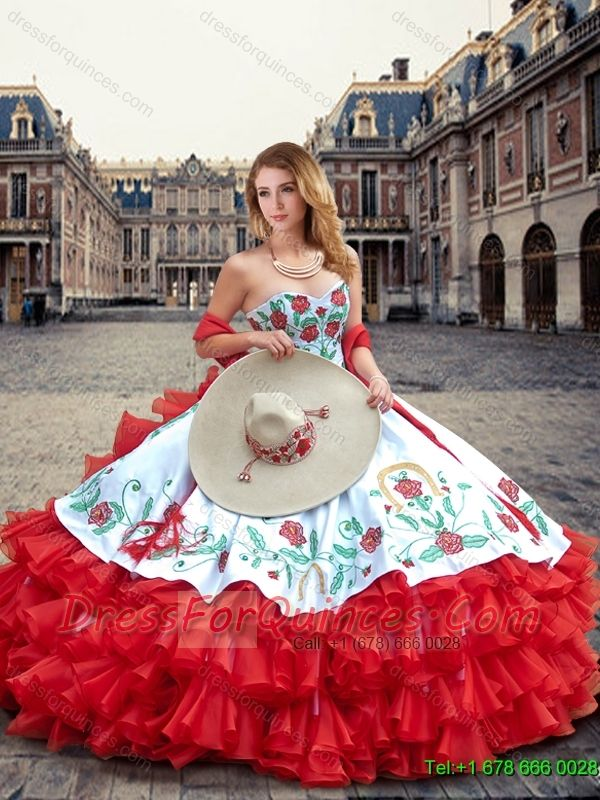 2016 Luxurious White and Red Quinceanera Dresses with Ruffled Layers and…