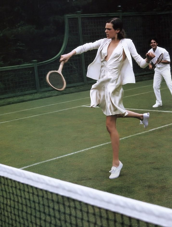 Elise Crombez by Arthur Elgort for Vogue, 2003 / tennis match