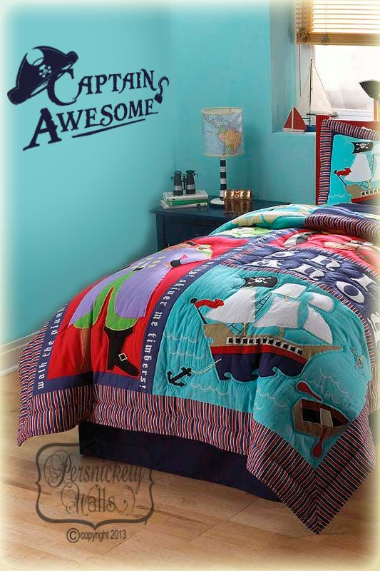 Pirate room decor Captain Awesome vinyl by PersnicketyWallVinyl, $19.00