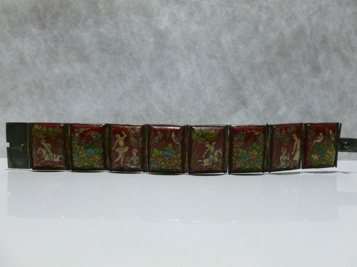 """7"""" PERSIAN SILVER RED HAND PAINTED STORY TELLER PANEL BRACELET"""