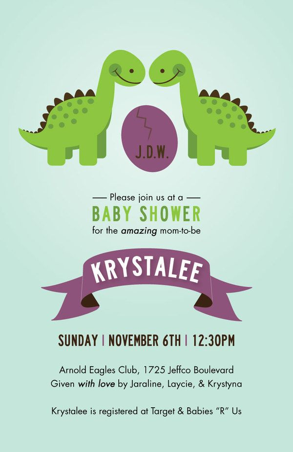 The Dinosaur Baby Shower Invitations With