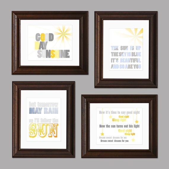 Sun and Sky Beatles Themed Set of Four Nursery Art by CisforColor, $65.00 (Maria would love these)                                                                                                                                                      More