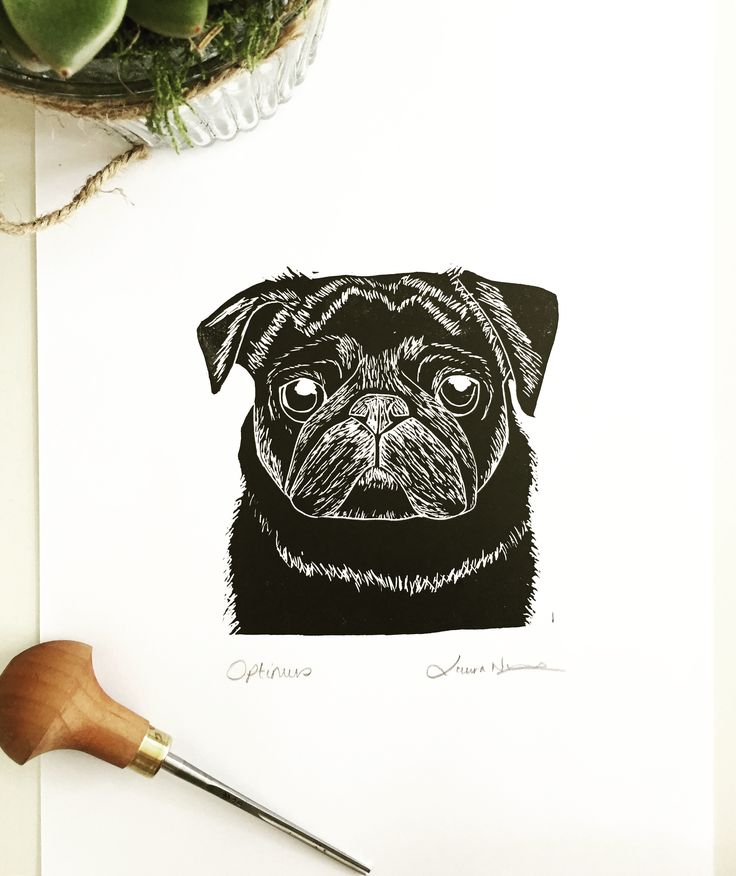 Black Pug custom pet portrait lino print lino cut - The Black Pug Press