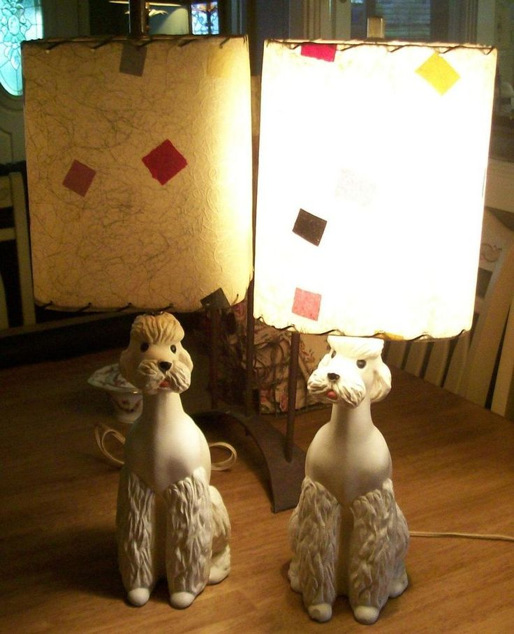 Pair of Vintage Poodle Lamps with Fiberglass Shades