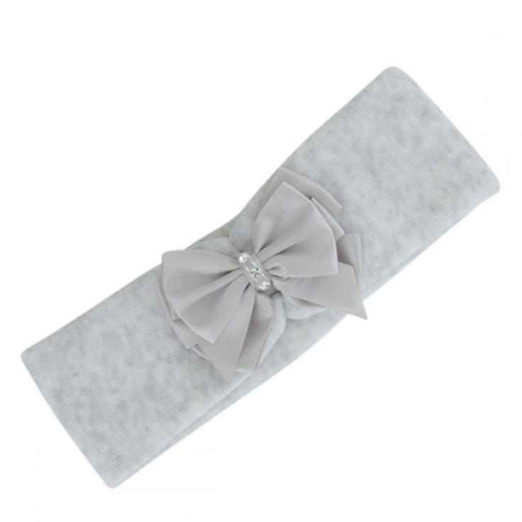 Grijs met wit gemeleerde haarband met dubbele satijnen strik met strass steentjes