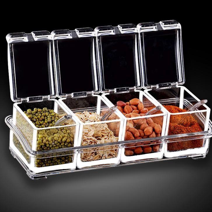 4Pcs Transparent Seasoning Boxes For Kitchen Condiment Bottle Container