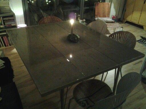 Concrete table with epoxy