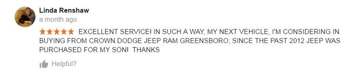 Review for Crown Chrysler Dodge Jeep Ram Greensboro.