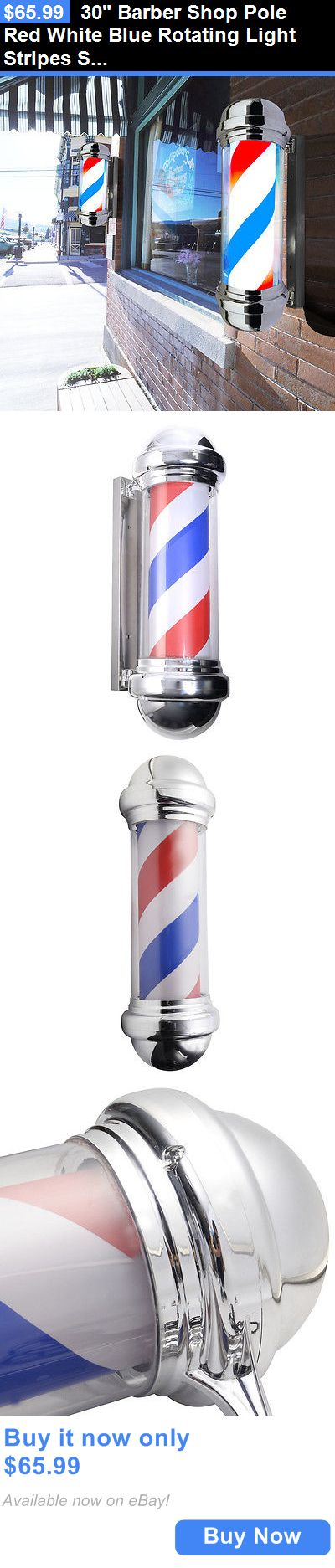 Other Salon and Spa Equipment: 30 Barber Shop Pole Red White Blue Rotating Light Stripes Sign Hair Salon New BUY IT NOW ONLY: $65.99