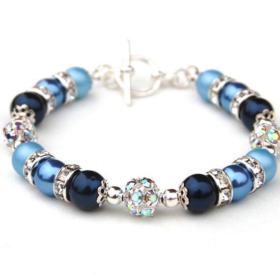 Something Blue Bracelet, Bridesmaid Jewelry, Navy Blue Pearl Rhinestone Bracelet