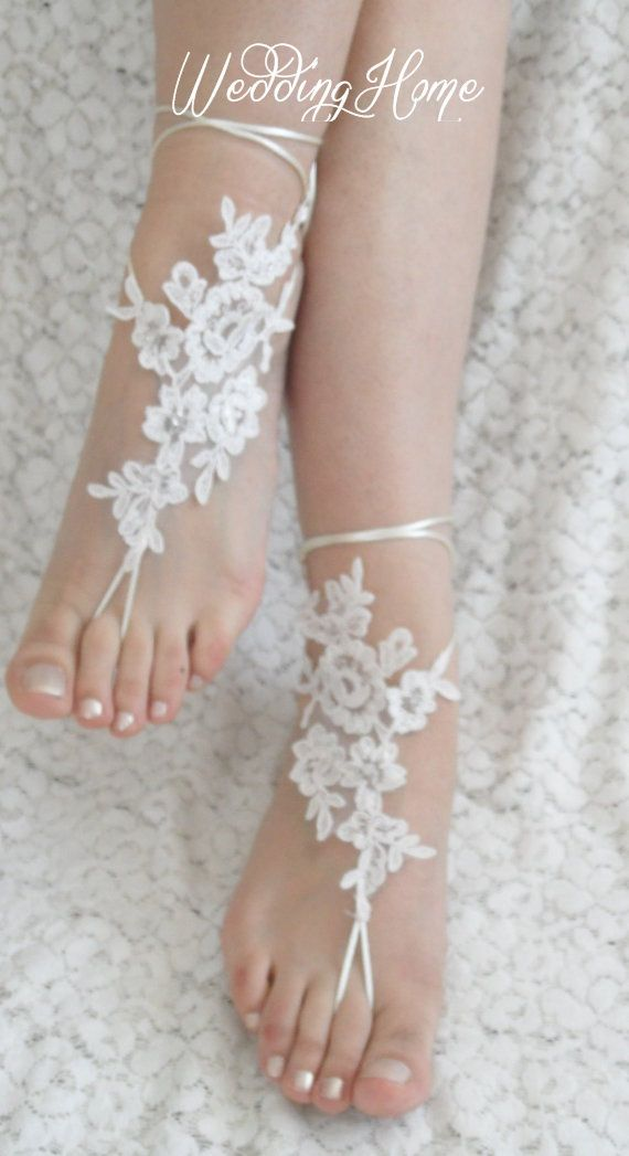 Free Ship  bridal anklet white flower Beach wedding by WEDDINGHome