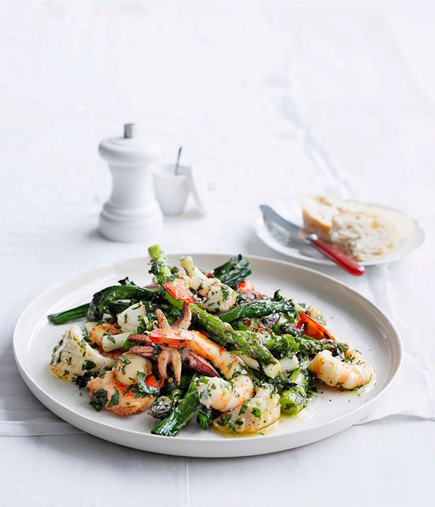 Seafood salad with herb dressing - Gourmet Traveller