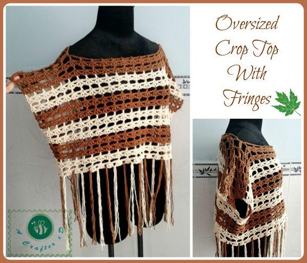 Crochet oversized crop top with fringes - Maz Kwok's Designs