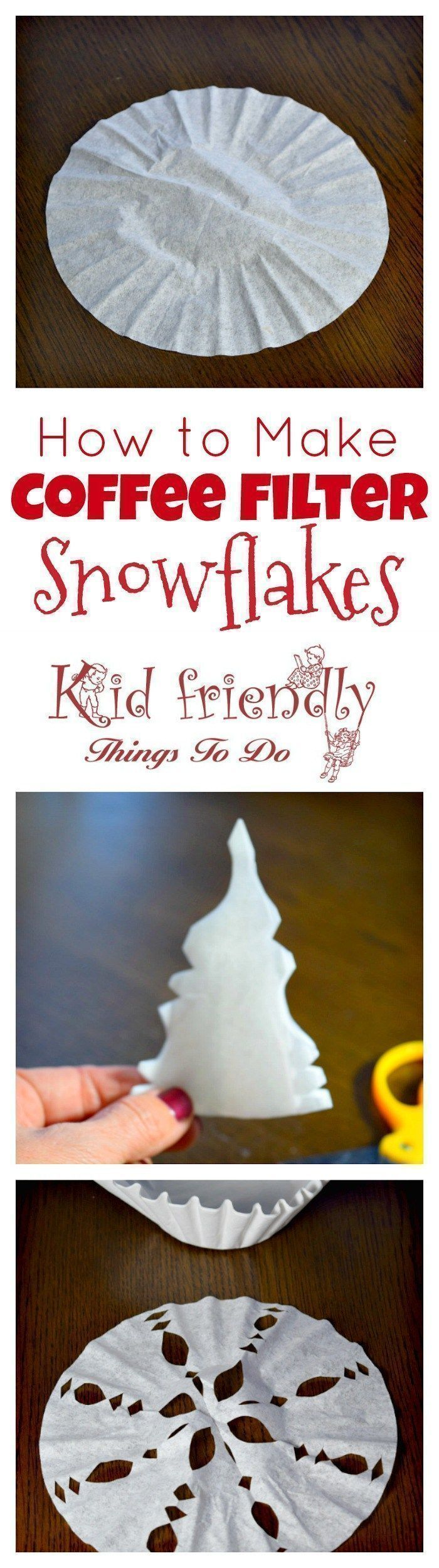 Great winter craft. These are easy to make with the kids! How to make a coffee filter snowflake. Fun to do on a snow day! www.kidfriendlyth...