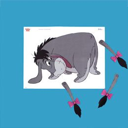 "Pin the Tail on Eeyore - consider making him larger and including the other ""tails"" the characters try (red balloon, clock, umbrella, dart board, scarf)"