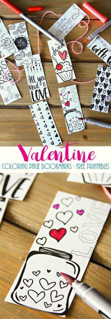Fun free #Valentine Printable Coloring Page Bookmarks are a great #gift for classmates to help kids be creative & encourage reading too! You can personalize these by writing the recipients'…