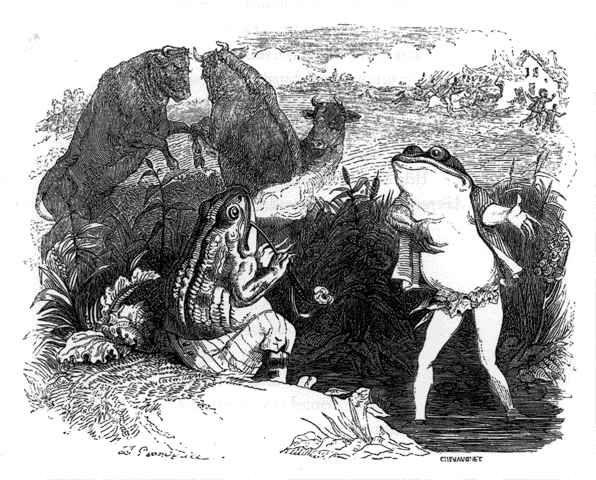 Les deux Taureaux et La Grenouille, illustration de Grandville