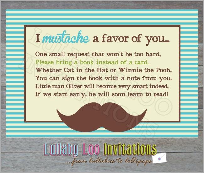 Mustache Baby Shower Inserts *Love This Idea!!!!*  @Karen Jacot Linkel