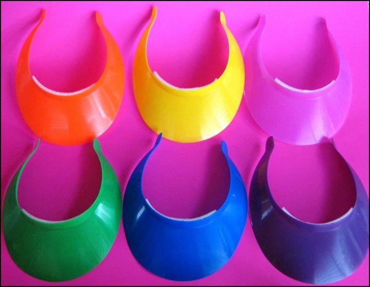 Bulk Lot 24 Childrens Sun Visors Bright Mixed Colours New Acrylic Wholesale