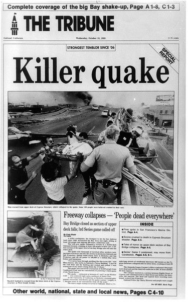 The October 18, 1989 Oakland Tribune front page shows the first day of coverage of the Loma Prieta earthquake which earned the Pulitzer Prize.