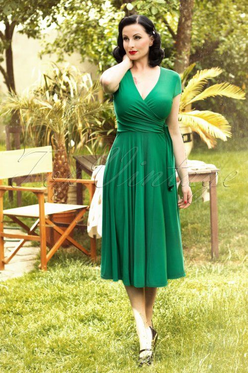 Vintage Chic Slinky Cross Green Dress 102 40 15823 1W