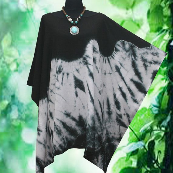 New Japanese Shibori Minimalist Artwork Tie dye handmade Beach Cover Up Hippie Gypsy Casual Poncho Tunic Top blouse US10-24