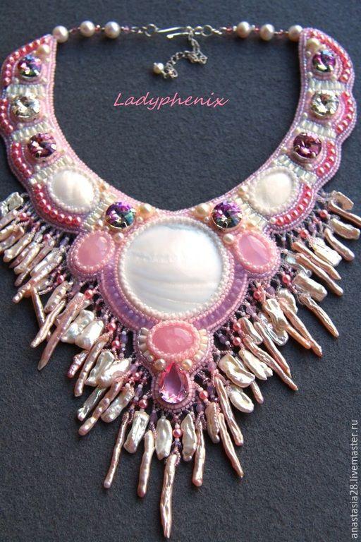 """Купить Колье """" Розовые сны """" - бледно-розовый, колье, украшение, подарок"""