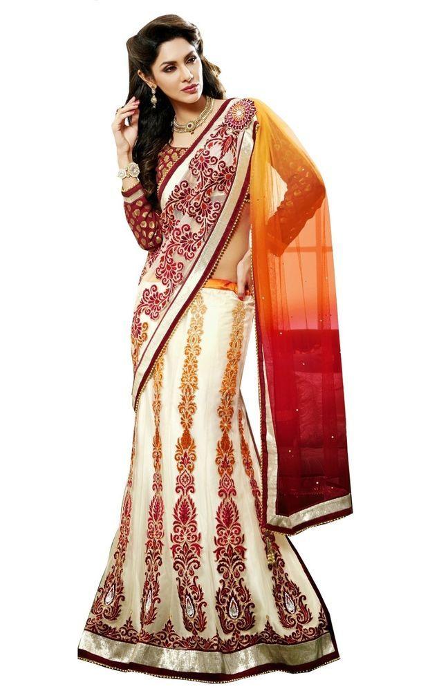 Red Rust Off White Wedding Wear Lehenga Saree Heavy Indian Designer Net Sari #SareeStudio