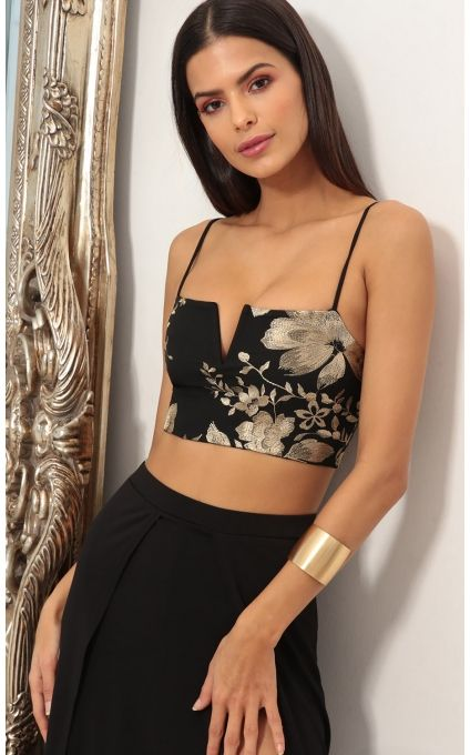 0430c4809 Skirts   Rome Gold Lace Maxi Set in Black