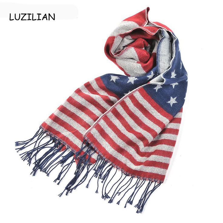 2015 New American Flag Scarf Classic Pashmina USA Flag  tippet Striped Tassels Shawls winter blanket Scarves AL S225